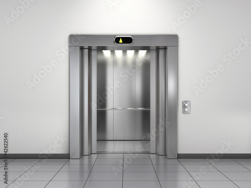 Modern elevator with open doors Canvas Print