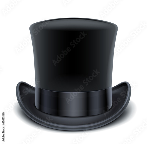 Leinwand Poster black top hat vector illustration isolated on white background