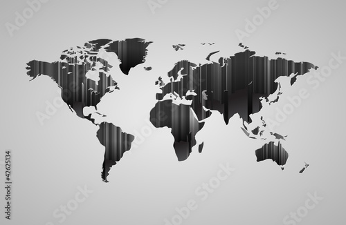 Photo sur Aluminium Carte du monde World map with 3d-effect