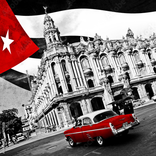 Canvas Prints Cars from Cuba Cuba (n&b)
