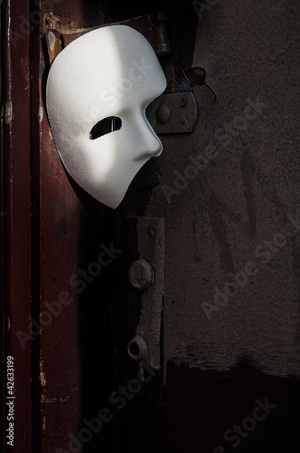 Photo Masquerade - Phantom of the Opera Mask on Vintage Door