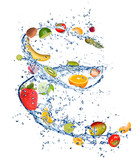 Fruit mix in water splash, isolated on white background