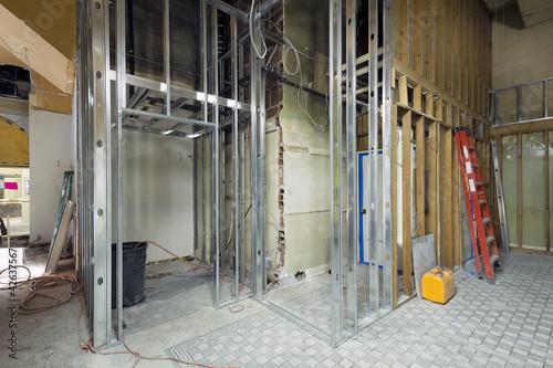 Fotografie, Obraz  Commercial Space Metal Stud Framing