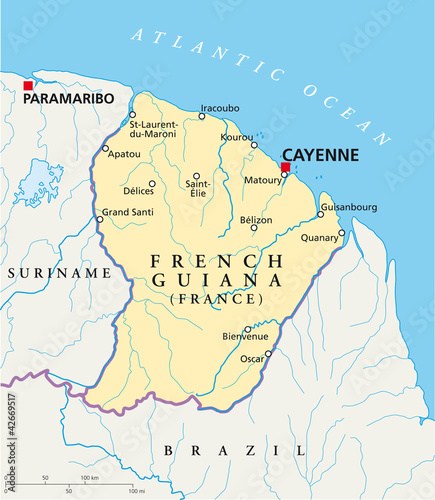 Map Of France With Cities In English.French Guiana Political Map With Capital Cayenne National Borders