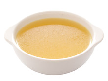 Close Up Of A Bowl Of Chicken Broth