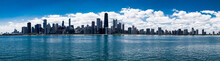 Panoramic View Of Chicago Skyline On Bright Sunny Day