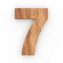 3d Font Wood Number 7