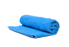 A Blue Towel Rolled Up