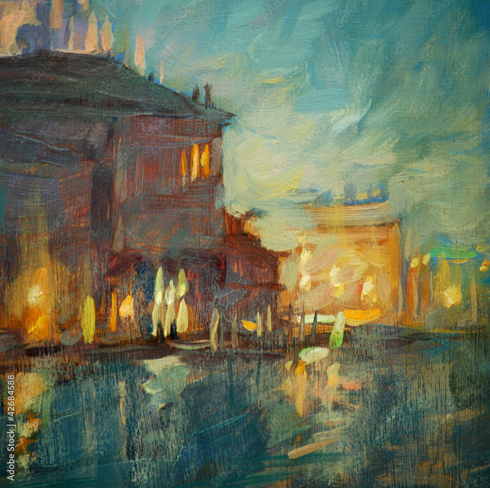 Fototapeta night landscape to Venice, painting by oil on a canvas
