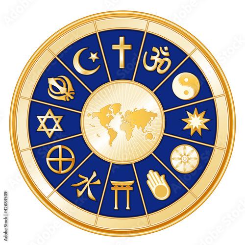 Fotografie, Tablou  World of Faith around earth map, 12 global religions