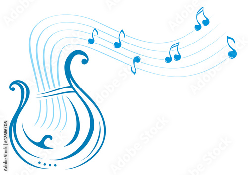 Design with music notes and lyre on illustration Wallpaper Mural