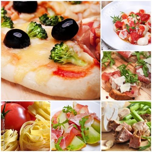 Obraz collage-dania kuchni włoskiej - fototapety do salonu