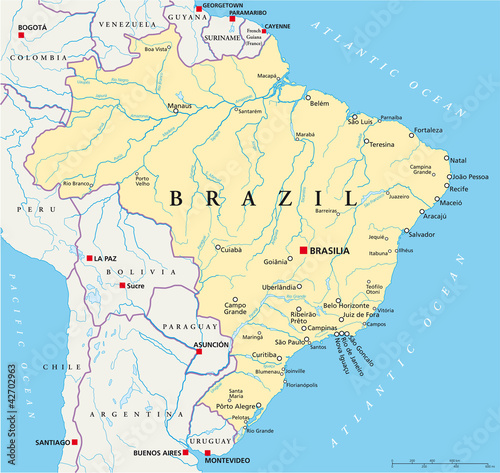 Brazil political map with capital Brasilia, national borders, most ...