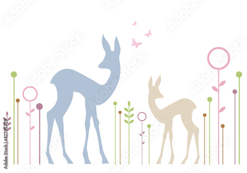 cute deers with floral background, vector Poster