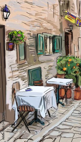 Photo sur Toile Drawn Street cafe Illustration to the old town