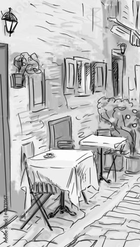 Keuken foto achterwand Drawn Street cafe Illustration to the old town - sketch