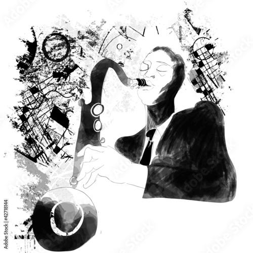 Staande foto Muziekband saxophonist on a grunge background