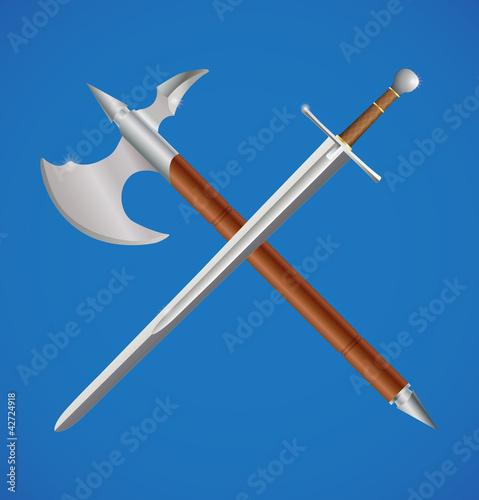 Photo  Sword and axe crossed
