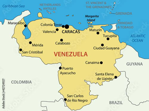 Fototapeta Bolivarian Republic of Venezuela - vector map
