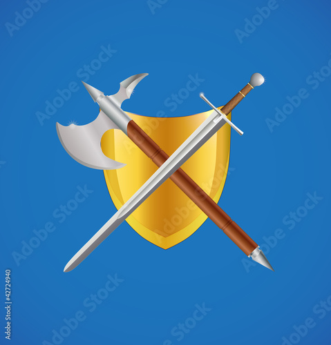 Photo  Shield, sword and axe crossed