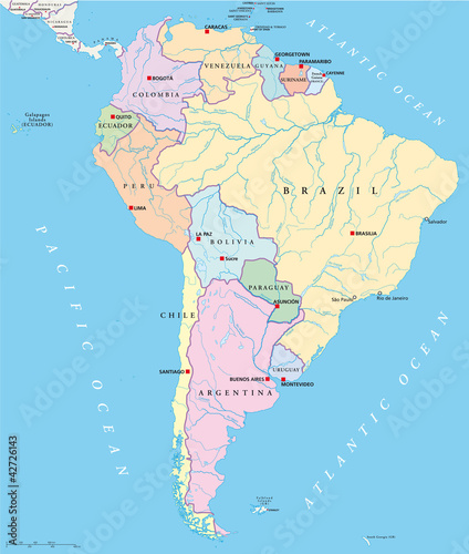 South America political map with single states, capitals ...