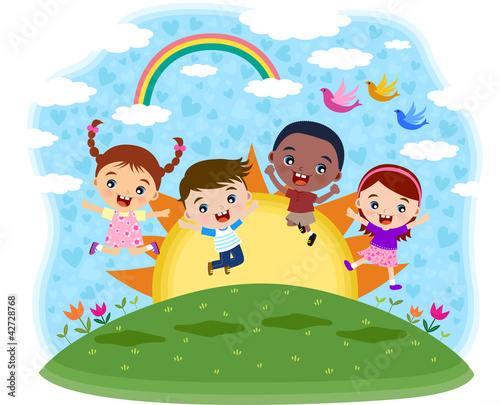 Photo Stands Rainbow Multicultural children jumping on the hil