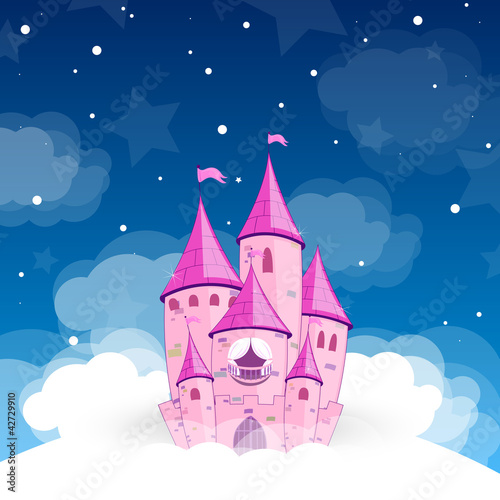 Deurstickers Pony Vector illustration of a princess castle at night