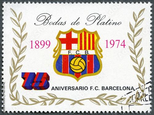 Obrazy Barcelona  gwinea-rownikowa-1974-przedstawia-etykiete-druzyny-barcelona-soccer