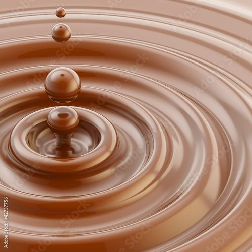 Fototapeta Brown liquid chocolate drop background obraz na płótnie