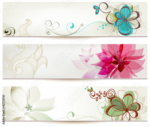 Deurstickers Abstract bloemen Floral banners in retro style