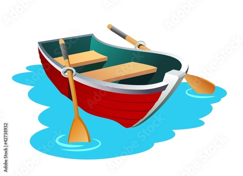 An illustration of small row boat Canvas Print