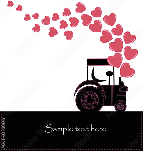 Stickers pour portes Hibou Black smoke from a tractor with hearts