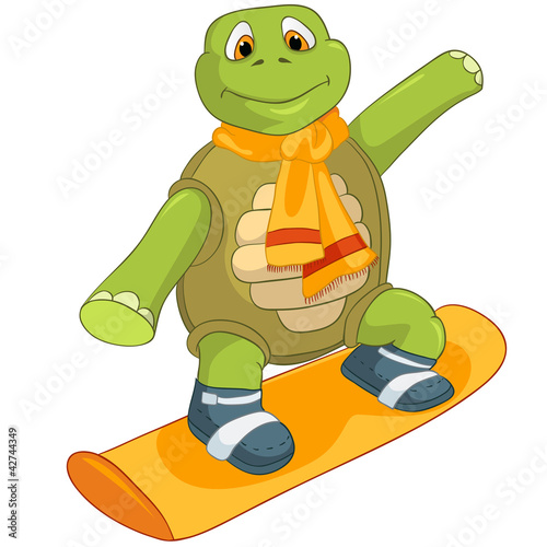 zabawny-zolw-jazda-na-snowboardzie