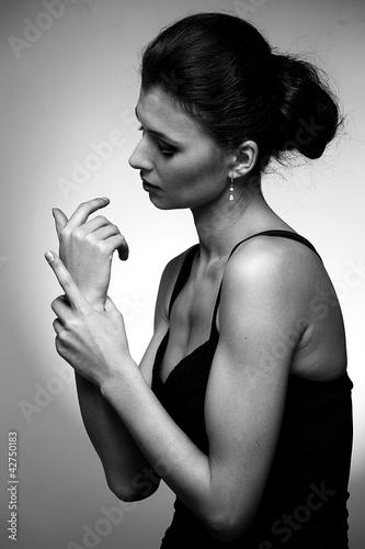 Fototapeta Portrait of luxury woman in exclusive jewelry obraz na płótnie