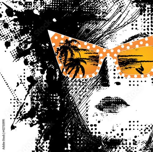 Fotobehang Vrouw gezicht Women in sunglasses