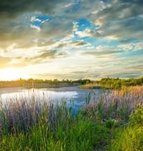 Beautiful Lake At The Evening