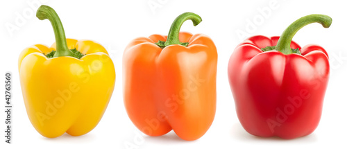 fresh pepper vegetables isolated on white background Fototapet