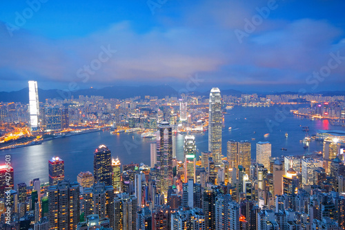 Photo  Hong Kong skyline from Victoria Peak at sunrise