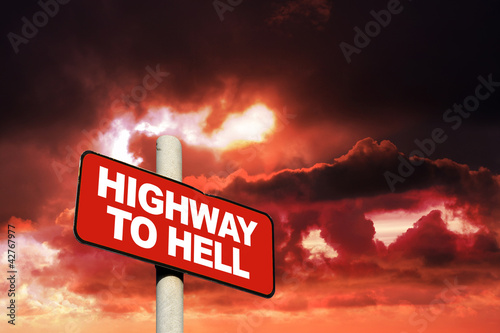 Photo  Highway to hell sign