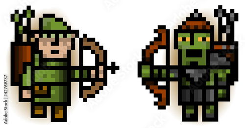 Photo sur Toile Pixel elf and ork pixel archers