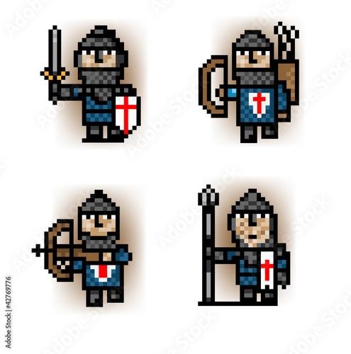 Door stickers Pixel pixel soldiers from blue army