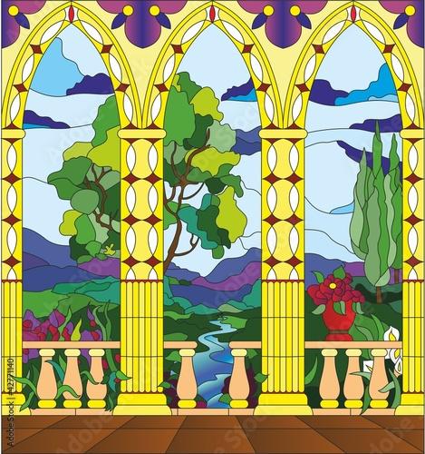witraz-widok-z-balkonu-zamku