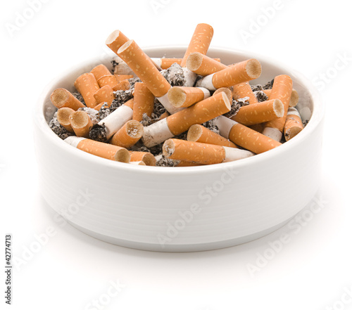 Ashtray full of smoked cigarettes Canvas Print