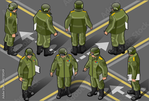 La pose en embrasure Militaire isometric set of military man in eight position