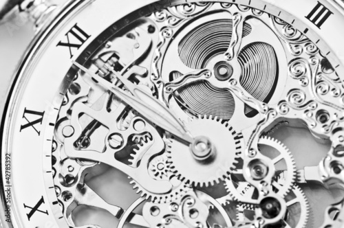 Fototapeta black and white close view of watch mechanism obraz