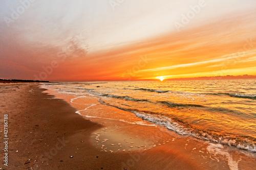 Foto-Schiebegardine Komplettsystem - Sonnenuntergang auf Hiddensee