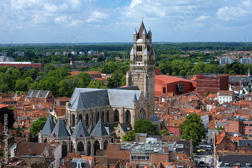 Deurstickers Brugge Saint Salvator Cathedral in Bruges, Belgium