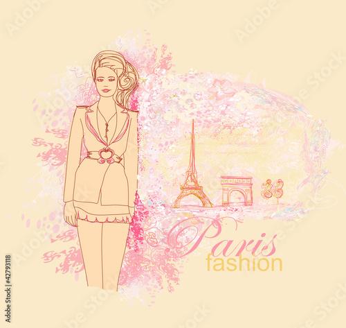 Tuinposter Doodle beautiful women Shopping in Paris - vector card