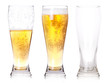 Three glasses of beer with one full, one half, one empty