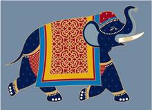 Indian Decorated Elephant Illustration